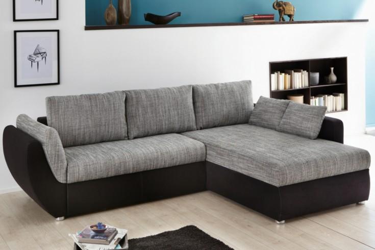 Design wohnlandschaft midland strukturstoff schwarz grau for Wohnlandschaft 270 cm