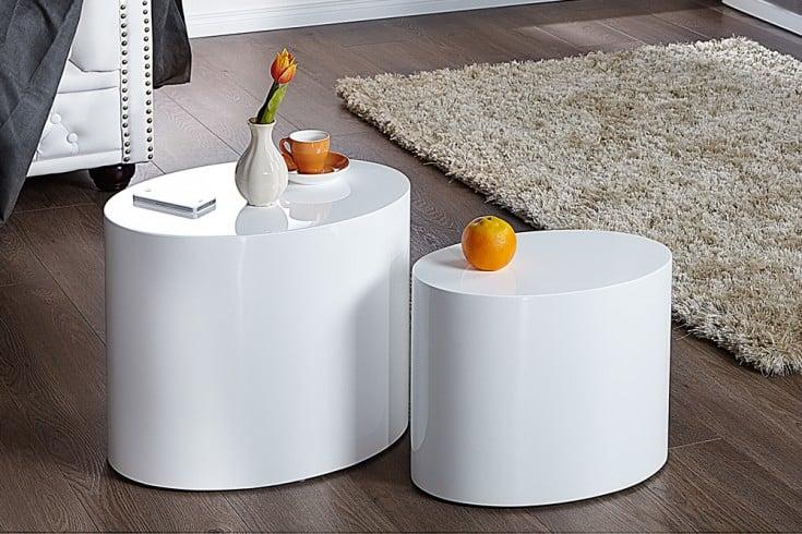 Design Beistelltisch 2er Set DIVISION 50cm Hochglanz weiß oval Couchtisch