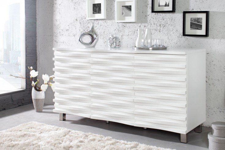 elegantes design sideboard craze 150cm weiss matt riess. Black Bedroom Furniture Sets. Home Design Ideas