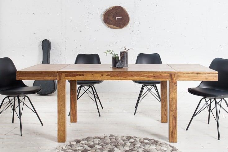 Massiver Tisch PURE 120-200cm Sheesham Massivholz mit Ansteckplatten und einzigartiger Maserung