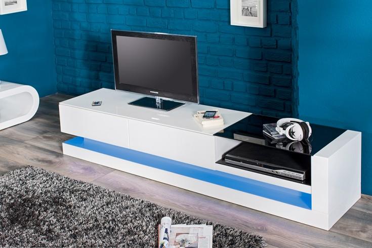 Modernes TV Lowboard hochglanz TWIST weiss inkl LED Farbwechsel