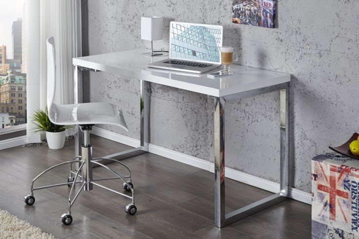 Moderner Schreibtisch WHITE DESK 120cm weiß Hochglanz Bürotisch