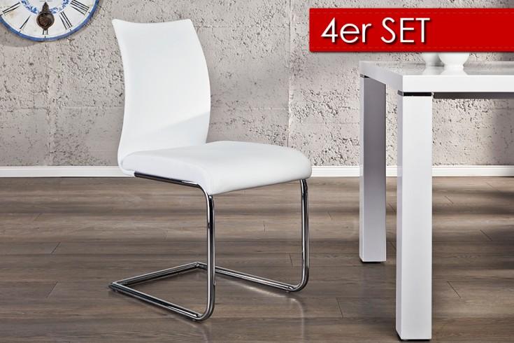 4er Set Design Freischwinger SUAVE weiss