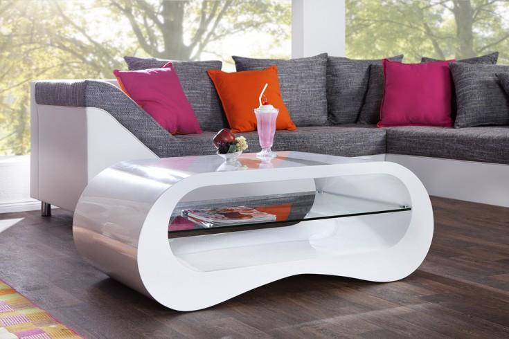 Moderner Design Couchtisch APPARTMENT 110cm weiß Hochglanz inkl. Glasplatte