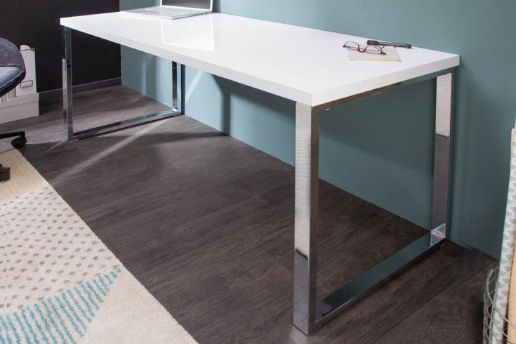 Moderner Schreibtisch WHITE DESK 160cm weiß Hochglanz Bürotisch