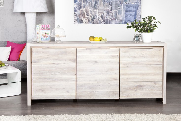 massives sideboard odin raw 180cm wildeiche wei gek lkt gewachst 3 t rige kommode riess. Black Bedroom Furniture Sets. Home Design Ideas
