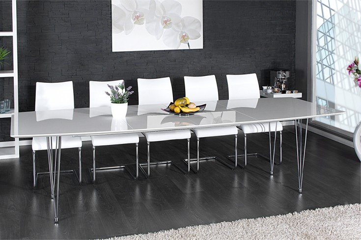 Designer Esstisch CONTINENTAL weiß Hochglanz 270cm verlängerbar Konferenztisch