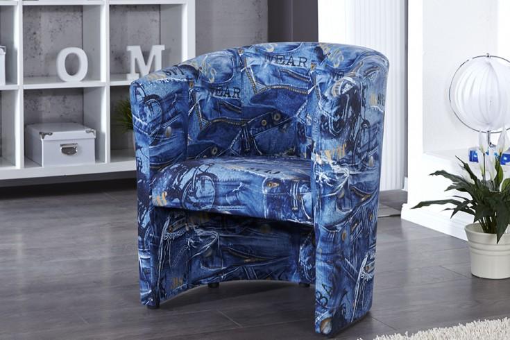 Stylischer Design Cocktailsessel ART DECO JEANS blau im Jeans Look
