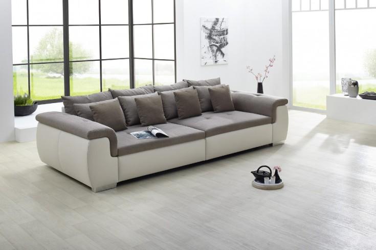 moderne design wohnlandschaft yuba greige xxl big sofa 310cm riess ambiente onlineshop. Black Bedroom Furniture Sets. Home Design Ideas