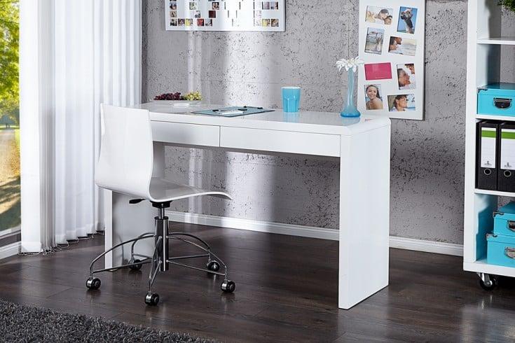 Design Schreibtisch SENSATION Hochglanz weiß 120cm 2 Schubladen Bürotisch