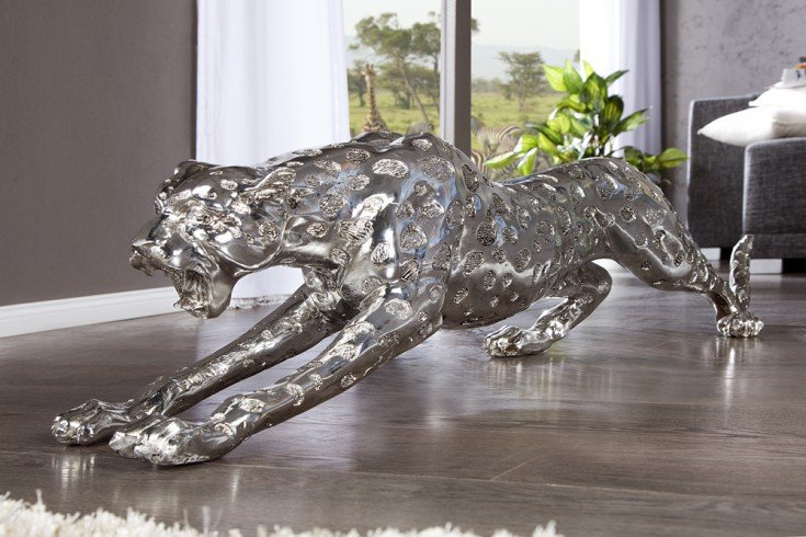 riesige design skulptur leopard 145cm silber figur deko. Black Bedroom Furniture Sets. Home Design Ideas