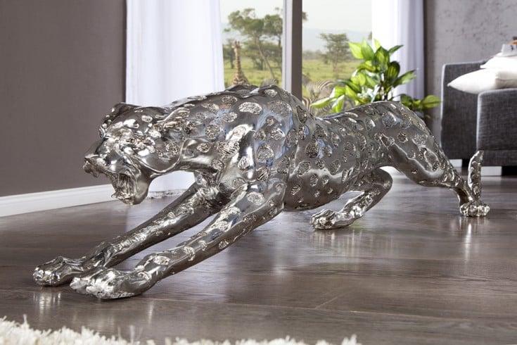 Riesige Design Skulptur LEOPARD 145cm silber Figur Deko Accessoire Statue