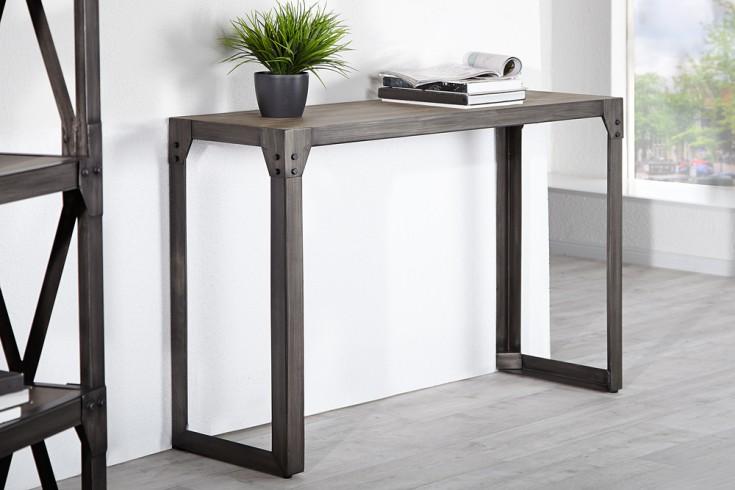 design konsole industrial 120cm akazie teakgrau gek lkt metallkorpus riess ambiente onlineshop. Black Bedroom Furniture Sets. Home Design Ideas