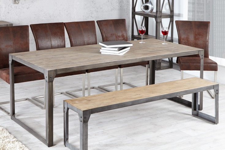 design esstisch industrial 200cm akazie teakgrau gek lkt metallkorpus riess. Black Bedroom Furniture Sets. Home Design Ideas