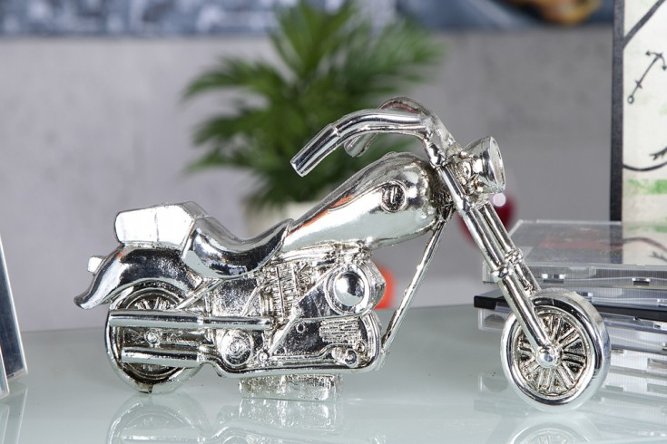 Design Deko SHOPPER XL 25cm Motorrad antik silber Skulptur Accessoire