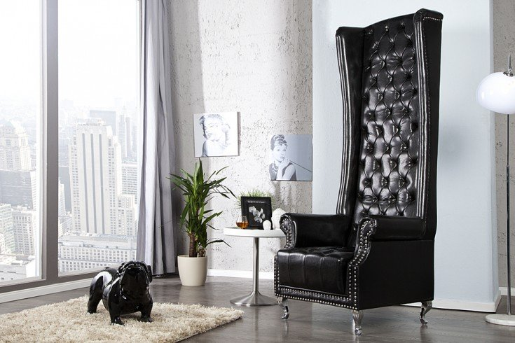 thronstuhl sessel royal chair schwarz riess. Black Bedroom Furniture Sets. Home Design Ideas