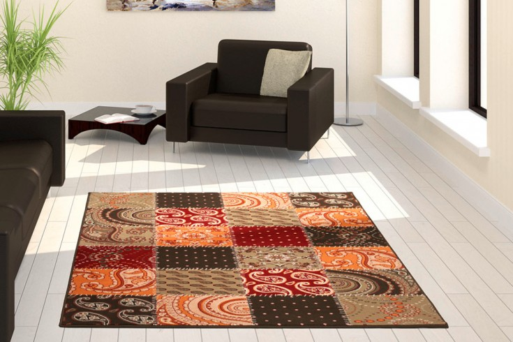 Großer Design Patchwork Teppich YOGA 160x230 cm