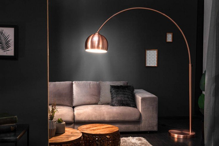 Ausziehbare Bogenlampe LOUNGE DEAL 170-210cm kupfer Stehlampe