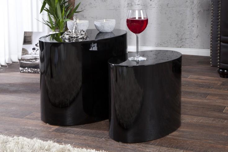 Design Beistelltisch 2er Set DIVISION hochglanz schwarz oval Couchtisch