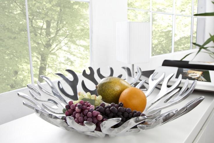 Design Obstschale FLAME 43x10 cm Metall-Aluminium Legierung poliert