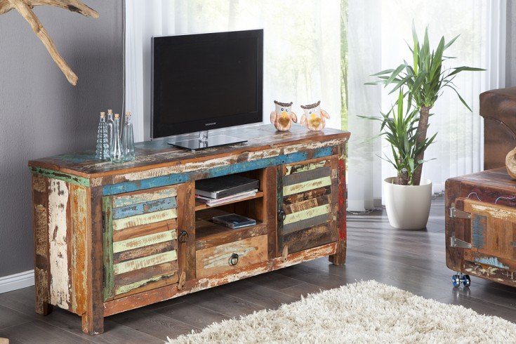 tv board jakarta 150cm recyceltes massiv holz unikat riess. Black Bedroom Furniture Sets. Home Design Ideas