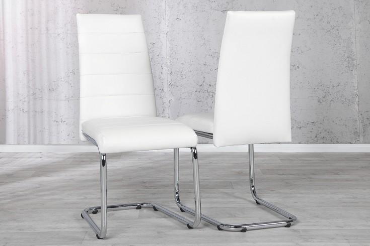 Design freischwinger stuhl derby weiss verchromt riess for Design stuhl freischwinger