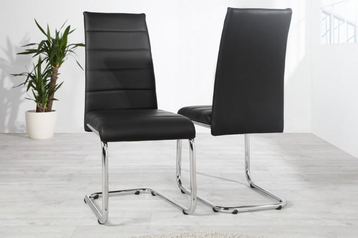 Design freischwinger stuhl derby schwarz verchromt riess for Design stuhl schwarz