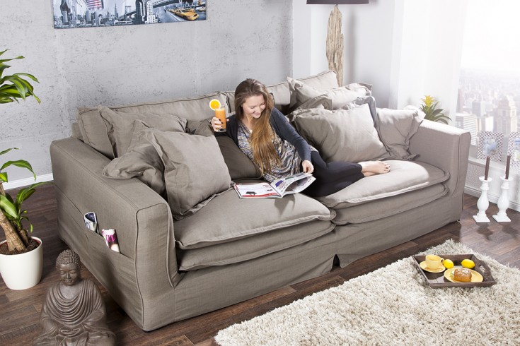 riesengro es xxxl hussensofa cloud oliv hussen stoffbezug 240cm riess ambiente onlineshop. Black Bedroom Furniture Sets. Home Design Ideas