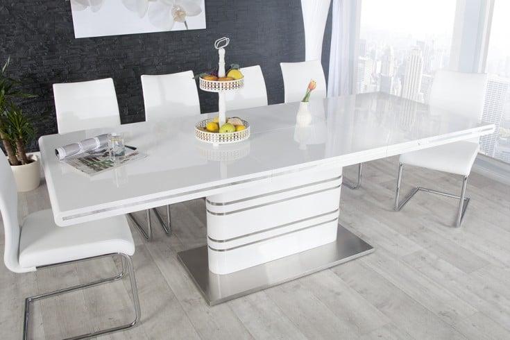 Ausziehbarer Design Esstisch ATLANTIS XL weiß Hochglanz 160-220cm Konferenztisch