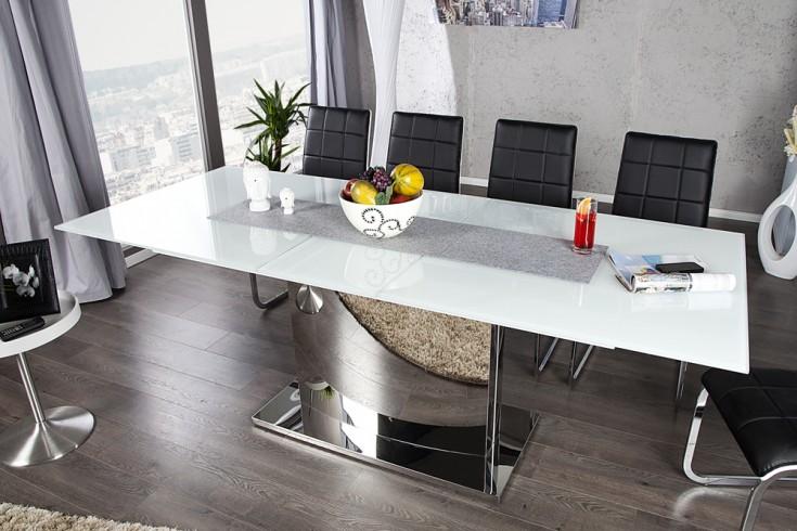 Ausziehbarer Design Esstisch CONCORD Glastisch chrom weiß 180-220cm Säulentisch