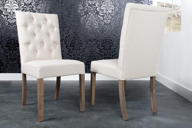 Design Stuhl ADDISON Chesterfield Steppung Leinen mit Holzbeinen