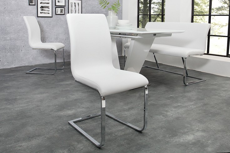 Eleganter Design Freischwinger HAMPTON Stuhl im edlem Weiß