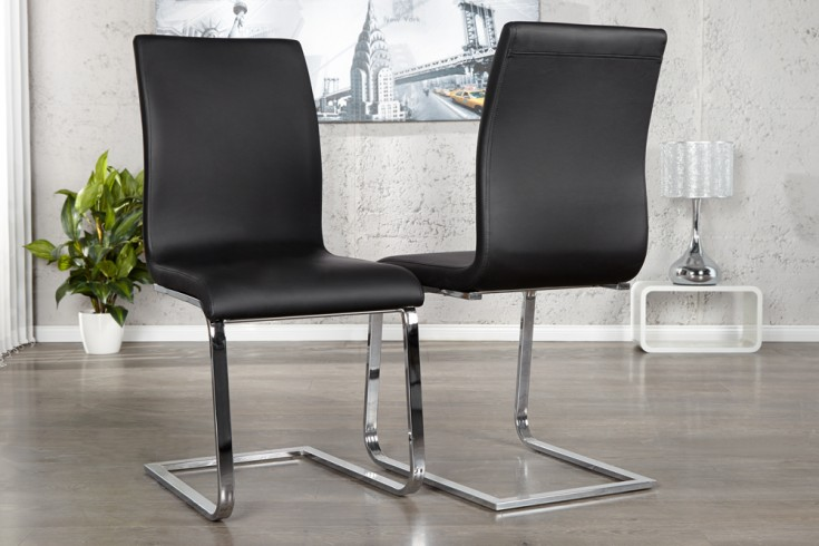 Eleganter Design Freischwinger HAMPTON Stuhl im edlem schwarz