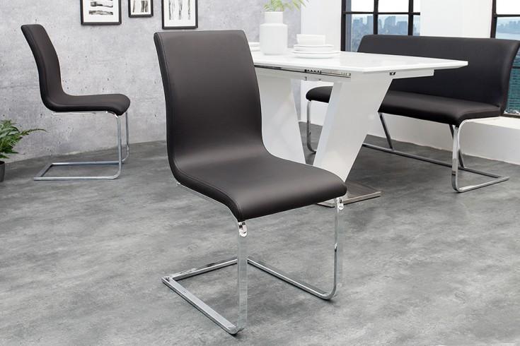 Moderner Design Freischwinger HAMPTON schwarz Stuhl mit Chromgestell
