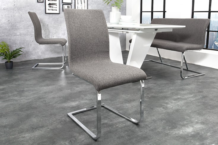 Moderner Design Freischwinger HAMPTON grau Stuhl mit Chromgestell