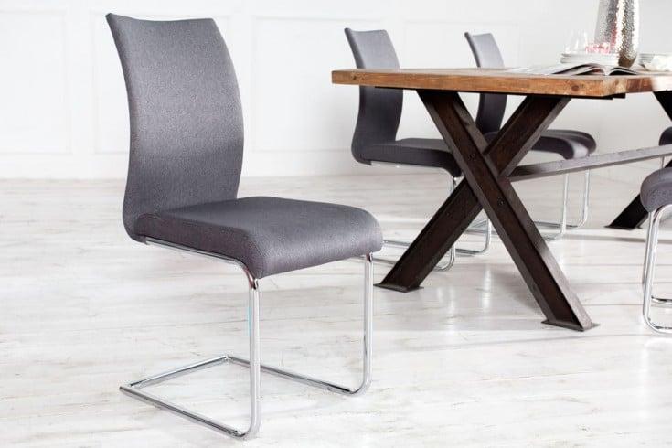 Moderner Design Freischwinger Stuhl SUAVE anthrazit mit Chromgestell