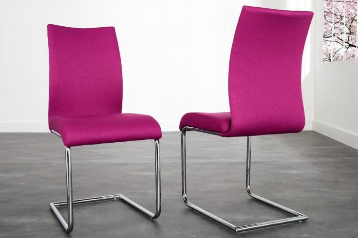 Design Freischwinger Stuhl SUAVE Strukturstoff magenta