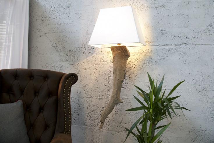 Design Teakholz Wandlampe ATHENE beige in Echter hochwertiger Leinenstoff Handarbeit