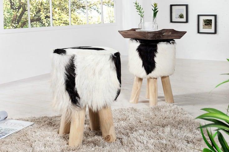 Design Sitzhocker HIDE 45cm schwarz weiß mit Ziegenfell und Teakholz