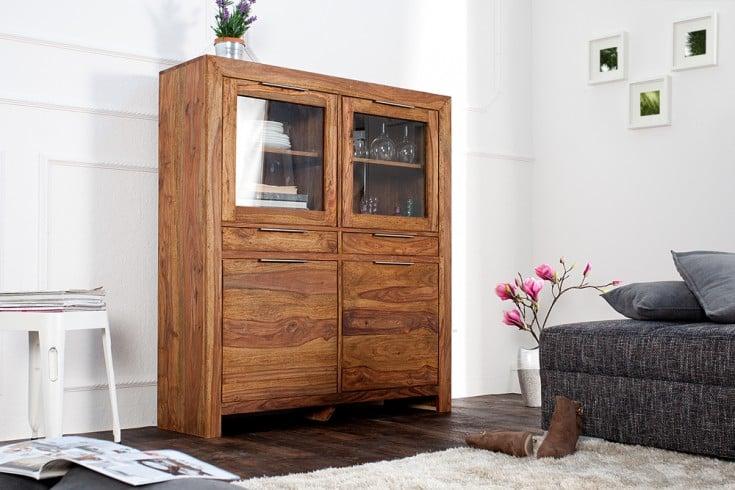 Massives Design Highboard PURE Sheesham Holz stone finish 120cm