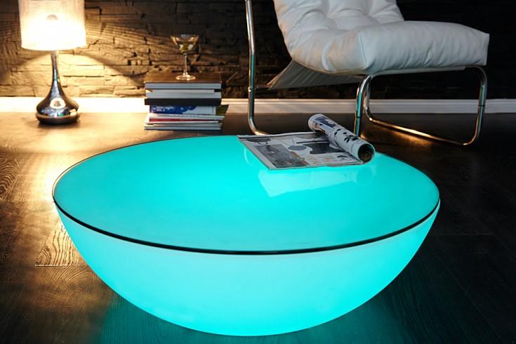Extravaganter Couchtisch OZONE weiß Multi LED Beleuchtung