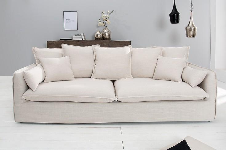 Großes Hussensofa HEAVEN 215cm Leinenstoff in Natur Leinen 3er Sofa