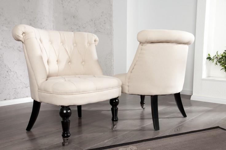 Stylischer Design Sessel JOSEPHINE Leinen Beige