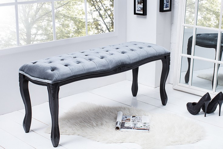 Edle Design Bank BOUTIQUE 115cm Samt silbergrau