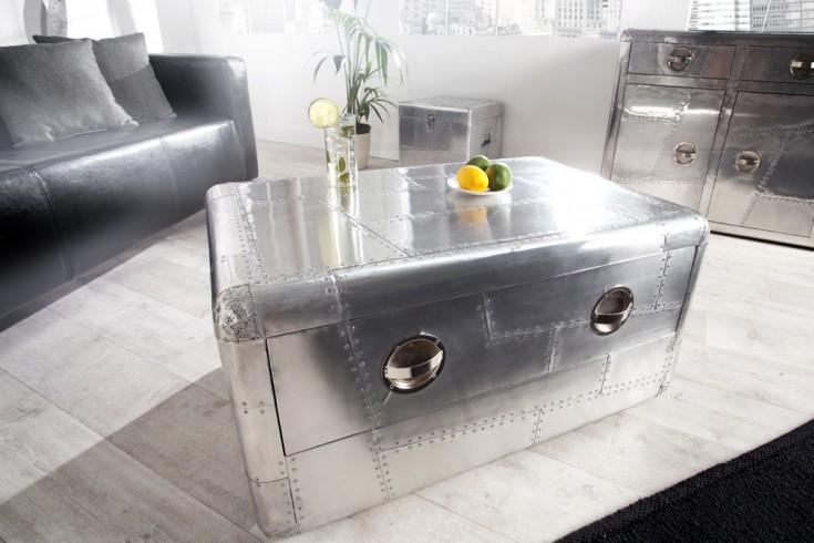 Design Couchtisch AVIATOR Silber Alu 100cm Reisekoffer