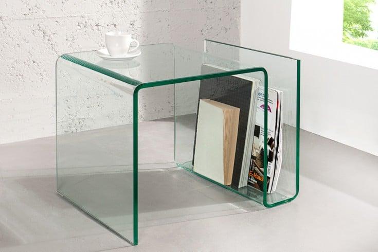 Extravaganter Glas Couchtisch FANTOME 50cm Beistelltisch mit Ablagefach für Magazine transparent