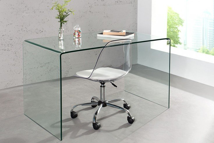 extravaganter glas esstisch ghost 120cm transparent schreibtisch ganzglastisch riess. Black Bedroom Furniture Sets. Home Design Ideas