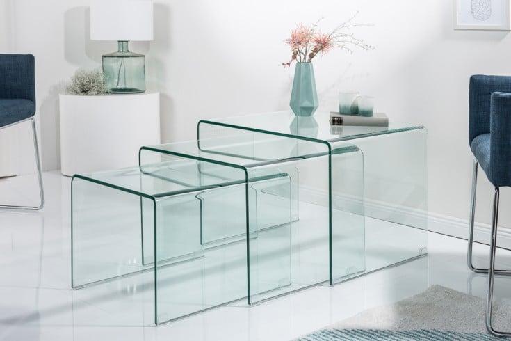Design 3er Set Glas Couchtisch FANTOME 60cm Beistelltische transparent