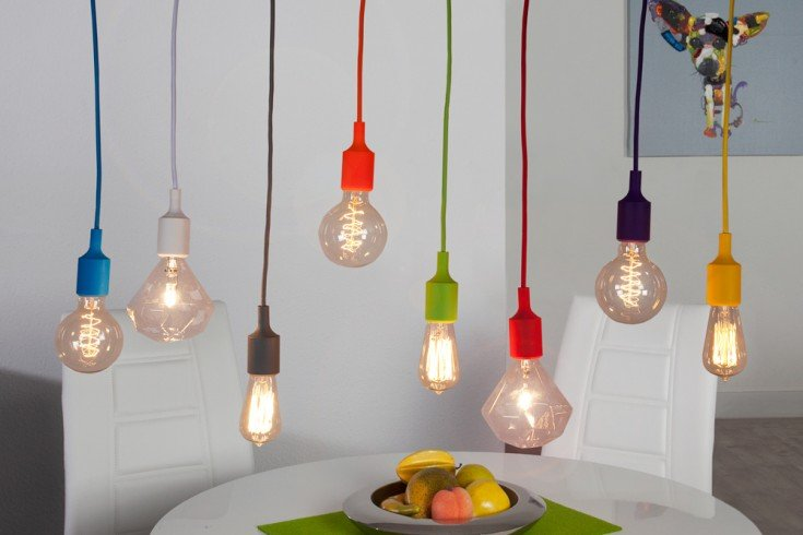 Design Hängelampe COLORFUL BULBS 100cm mit 8 bunten Lichter