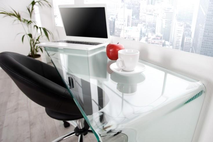 extravaganter glas konsolentisch ghost 100cm transparent schreibtisch ganzglastisch riess. Black Bedroom Furniture Sets. Home Design Ideas